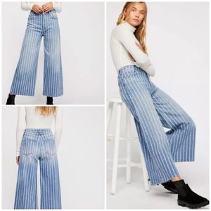 New Free People Earn Your Stripes Wideleg Jeans